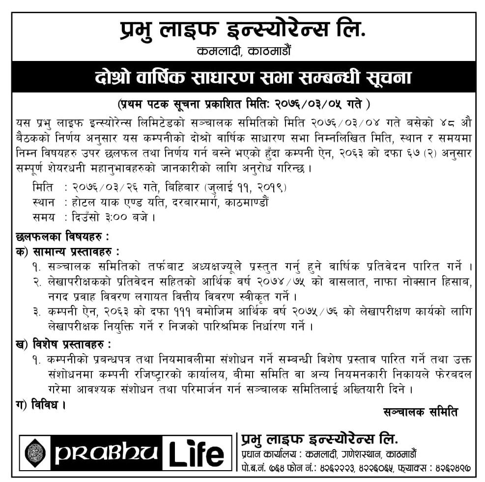 2nd AGM of Prabhu Life Insurance